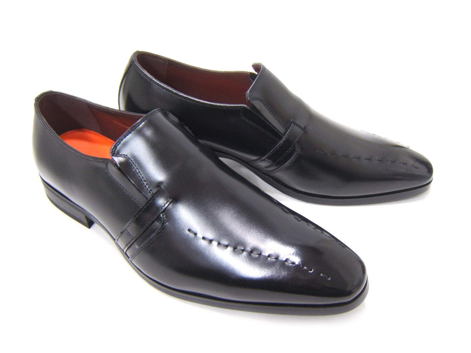 上品で遊び心ある大人の紳士ビジネスシューズ!YUKIKO HANAI/ユキコ ハナイ ビジネスYH-3116 紳士靴 ブラック 変形スワールモカ スリップオン 飾り縫い ビジネス 送料無料