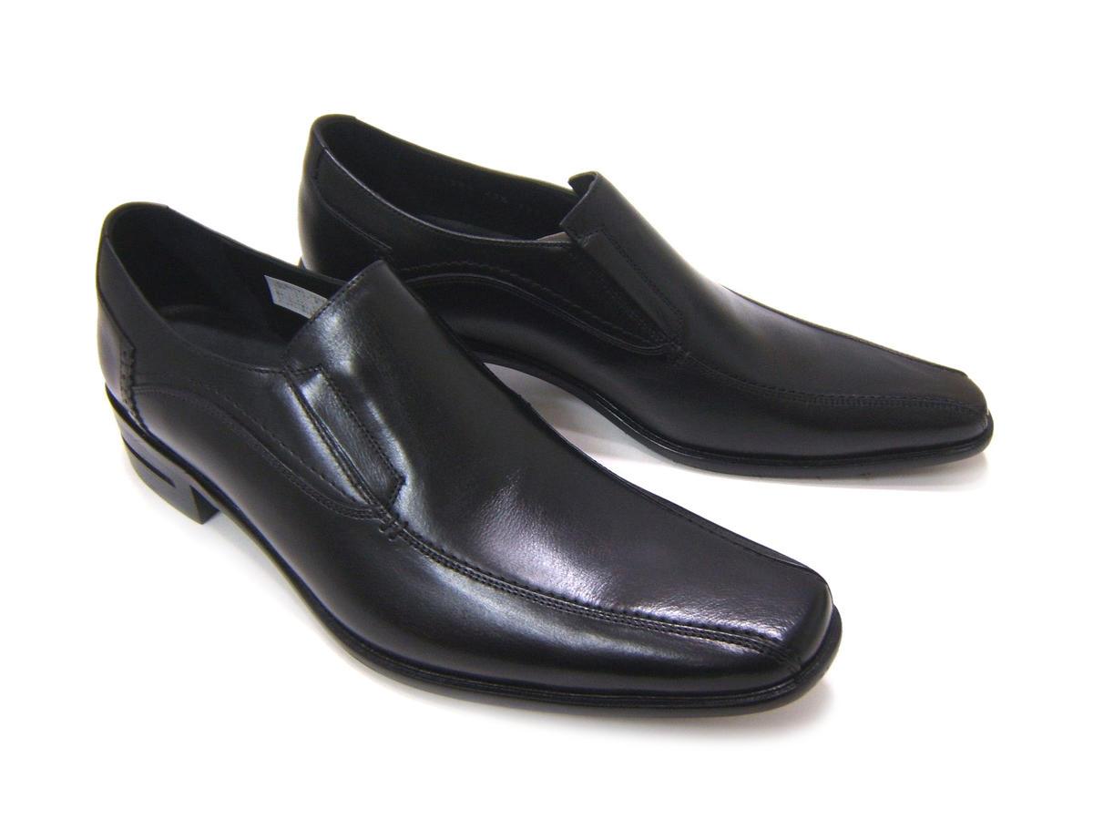 シンプルながら落ち着きのある英国スタイル!KATHARINE HAMNETT LONDON キャサリン ハムネット ロンドン紳士靴 KH-31580 ブラック スワールモカ スクエアトゥ スリップオン ビジネス 送料無料