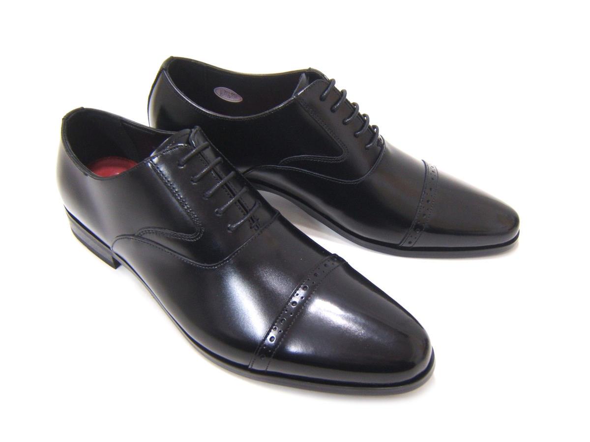 イタリアンモードにこだわったロングノーズ!カルロメディチ 紳士靴 ブラック ストレートチップカジュアル ビジネス 送料無料 3Eワイズ 日本製