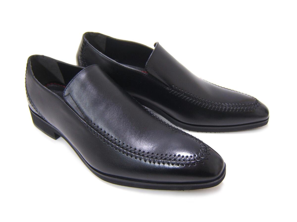 イタリアンモードにこだわったスリッポン!カルロメディチ 紳士靴 CJ-9004 ブラック Uチップ ローファー カジュアル ビジネス 送料無料 日本製 牛革