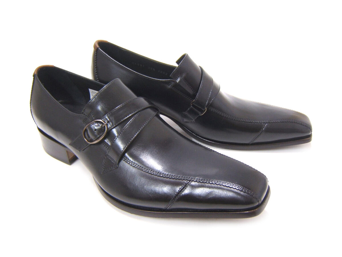 英国で培われた伝統のスタイルを正統継承!KATHARINE HAMNETT LONDON キャサリン ハムネット ロンドン 紳士靴 KH-31591 ブラック スワールモカ モンクストラップ スクエアトゥ 送料無料