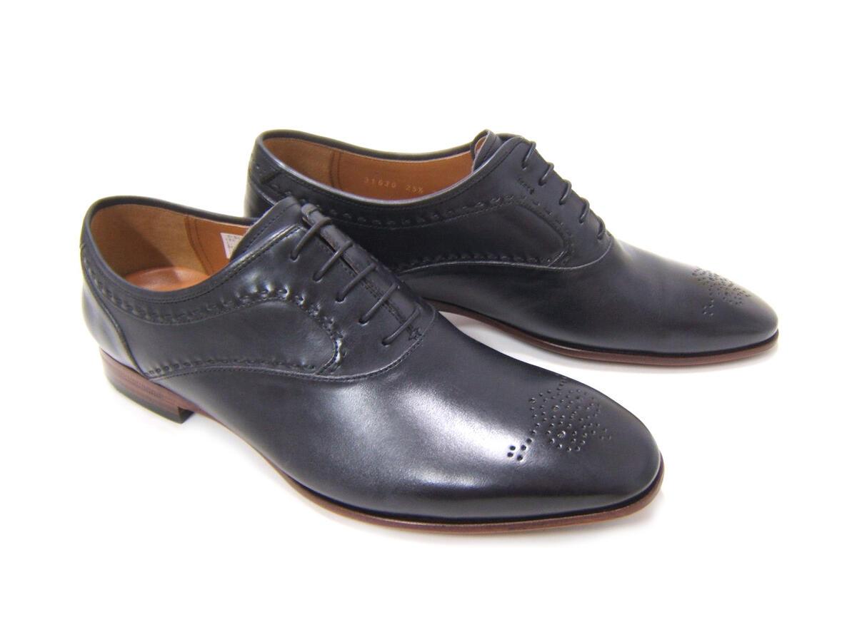 しっとりとした質感で大人の紳士靴スタイル!KATHARINE HAMNETT LONDON キャサリン ハムネット ロンドン 紳士靴 KH-31630 ブラック プレーントゥ メダリオン 飾り穴 ビジネス パーティー 送料無料