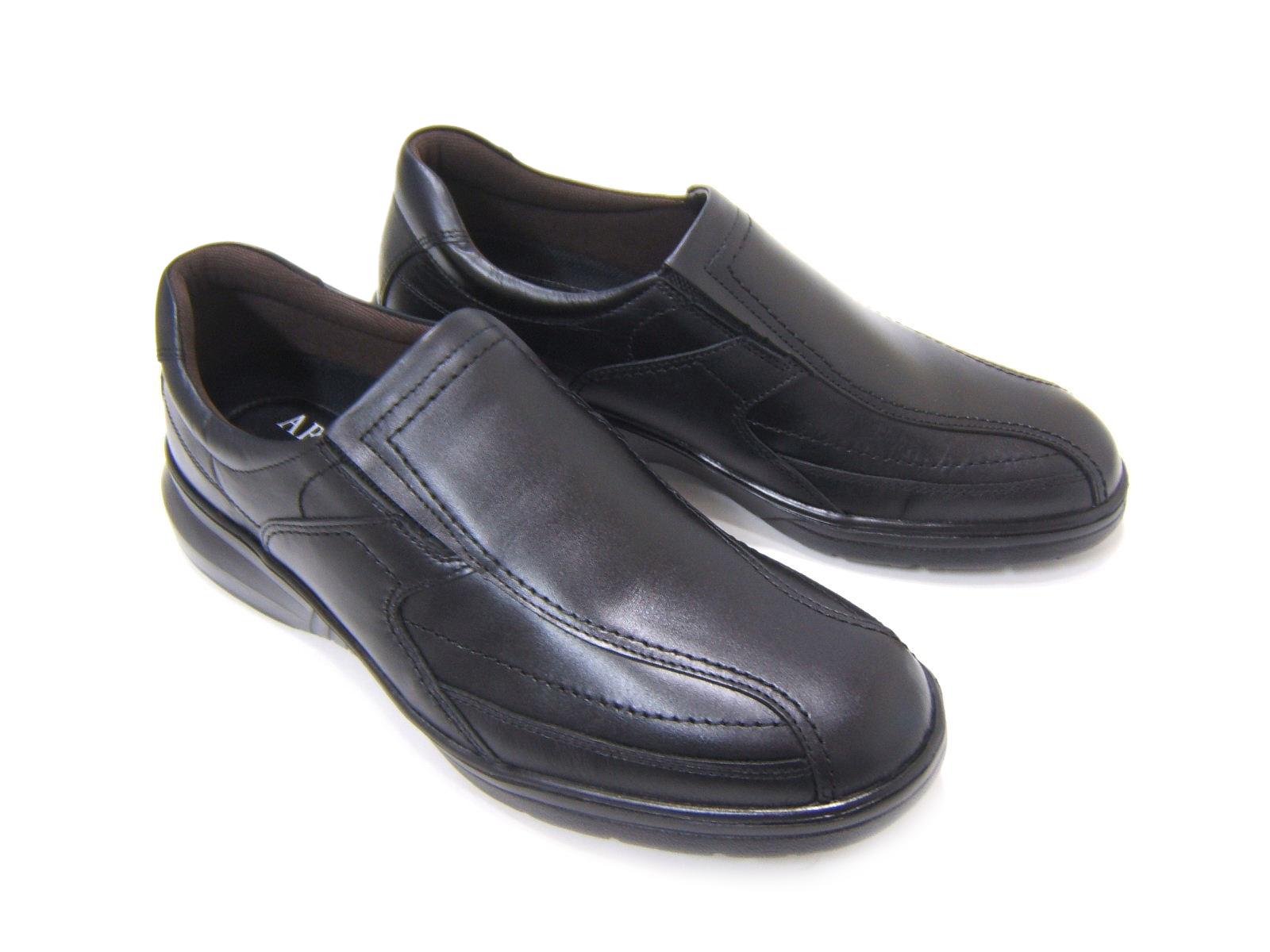 毎日履きたい至極のウォーク&ワークシューズ!ARUKURUN/アルクラン 紳士靴 スワールモカ スリップオン AR-2033 ブラック 送料無料 日本製 4Eワイズ