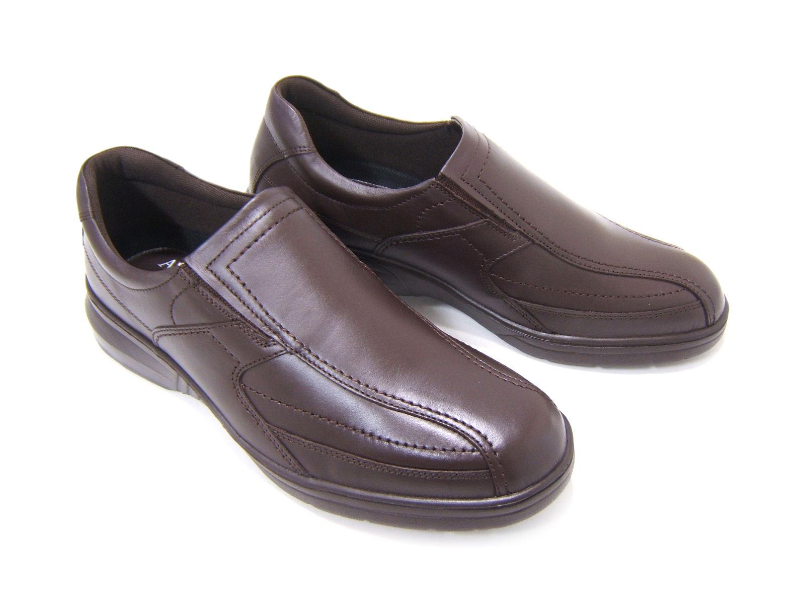 毎日履きたい至極のウォーク&ワークシューズ!ARUKURUN/アルクラン 紳士靴 スワールモカ スリップオン AR-2033 ダークブラウン 送料無料 日本製 4Eワイズ