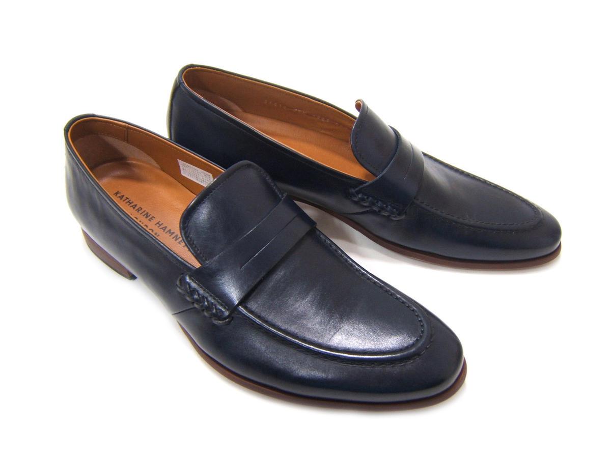 柔らかなキップレザーで仕上げた上質な1足!KATHARINE HAMNETT LONDON キャサリン ハムネット ロンドン紳士靴 31610 ネイビー Uチップ ローファー ビジカジ カジュアル 送料無料