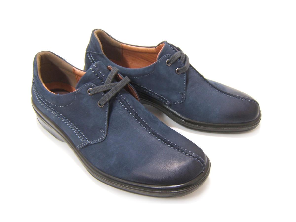 毎日履きたい至極のタウンカジュアル!ARUKURUN/アルクラン 紳士靴 プレーントゥ オブリークラン型 レースアップ ヌバック AR-2217 ネイビー 送料無料 日本製 4Eワイズ