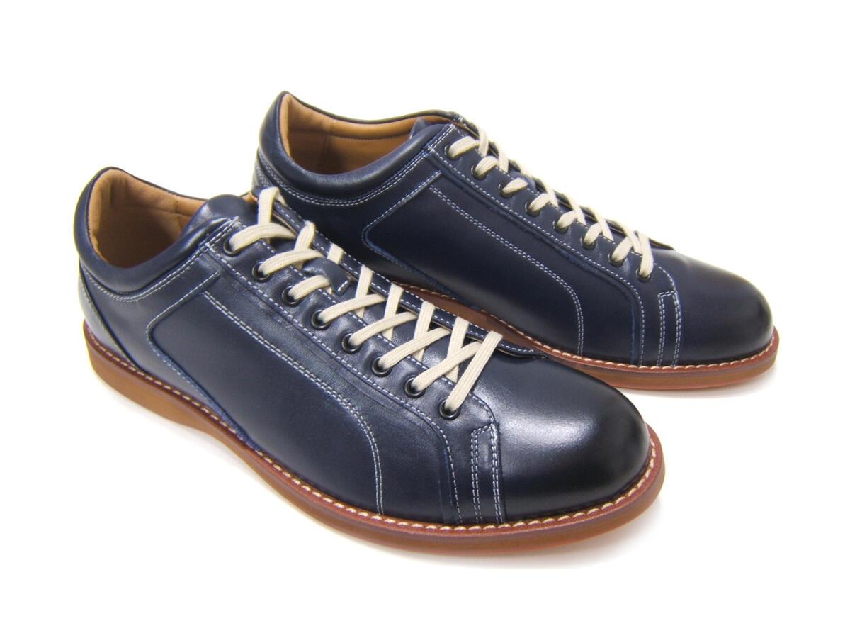 牛革で落ち着きのある大人カジュアル紳士靴!HIROKO KOSHINO/ヒロコ コシノ HK-4003A ネイビー カジュアル 紳士靴 レースアップ 本革 送料無料