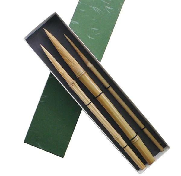 送料無料 毛先まで1本の竹で作った 交換無料 竹筆 大 ストア 箱入り3本セット 小 味のある筆さばきができます 中