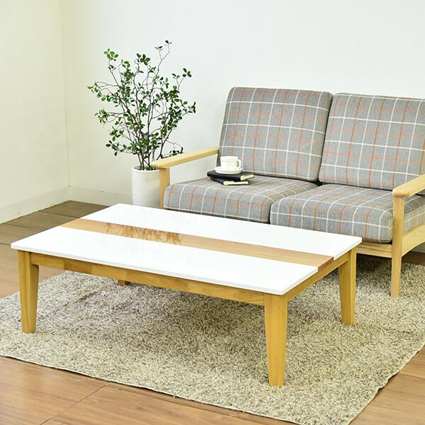 【送料無料】ホワイト ストライプ入り モダン テーブル、カラーも2色 奥行きが深く 75センチ ゆったり使えるテーブル【北海道・沖縄・離島へは配送できません】