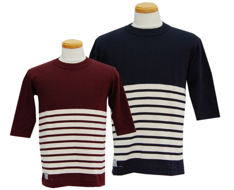 DAPPER'S ダッパーズ 7分袖 Half Sleeve Spring Knit LOT1231(BORDEAUX/ICE BEIGE / NAVY BLACK/ICE BEIGE)