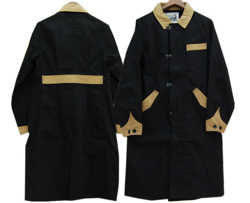 DAPPER'Sダッパーズ コート Classical Front Hook Engineers Coat LOT1237(BLACK/KHAKI BEIGE)