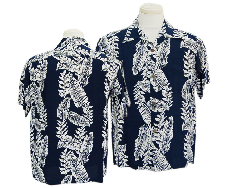 "SunSurf サンサーフ 半袖 2020 S/S RAYON HAWAIIAN SHIRT ""BANANA LEAF AND HELICONIA""(128:NAVY)"