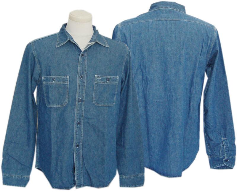 売り込み Two Moon トゥームーン シャツ メタルボタン インディコ ウォッシュ加工 ダンガリーシャツ 安全
