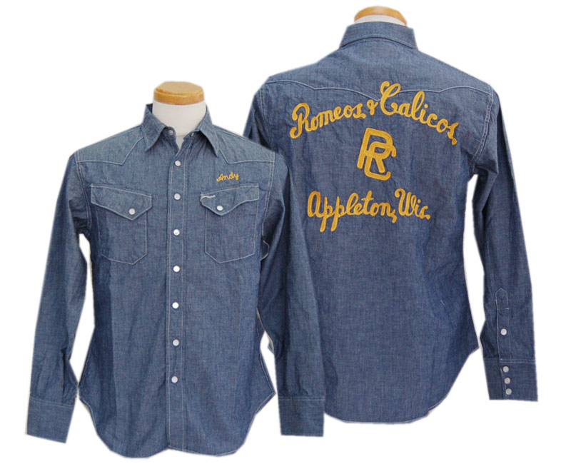 SUGAR CANE シュガーケーン 長袖シャツ CHAMBRAY L/S WESTERN SHIRT W/CHAIN EMB'D(BLUE)