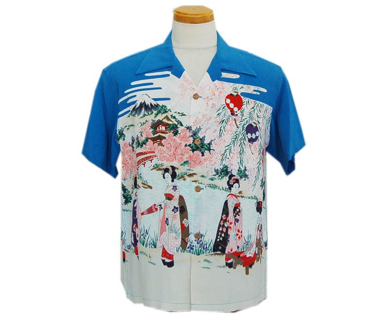 "SunSurf サンサーフ 半袖 2019 S/S RAYON HAWAIIAN SHIRT""OLD JAPANESE SCENERY""(BLUE)"