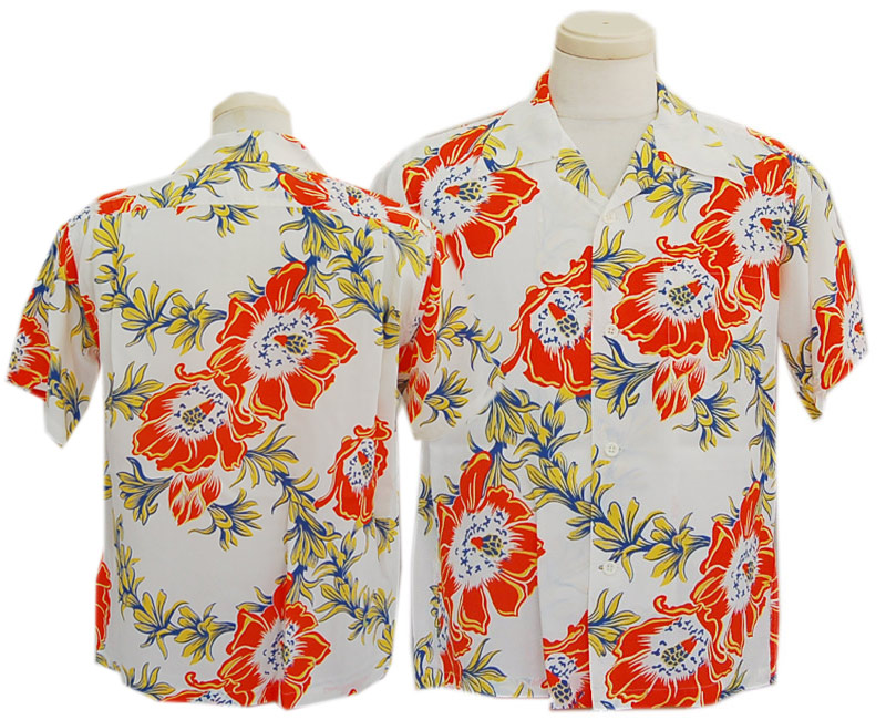 "SUN SURFサンサーフ 半袖 2020 RAYON HAWAIIAN SHIRT ""NIGHT BLOOMING CEREUS""(OFF WHITE)"