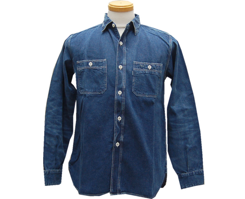 WAREHOUSE ウエアハウス 長袖シャツ DENIM WORK SHIRTS(NO.3) USEDWASH