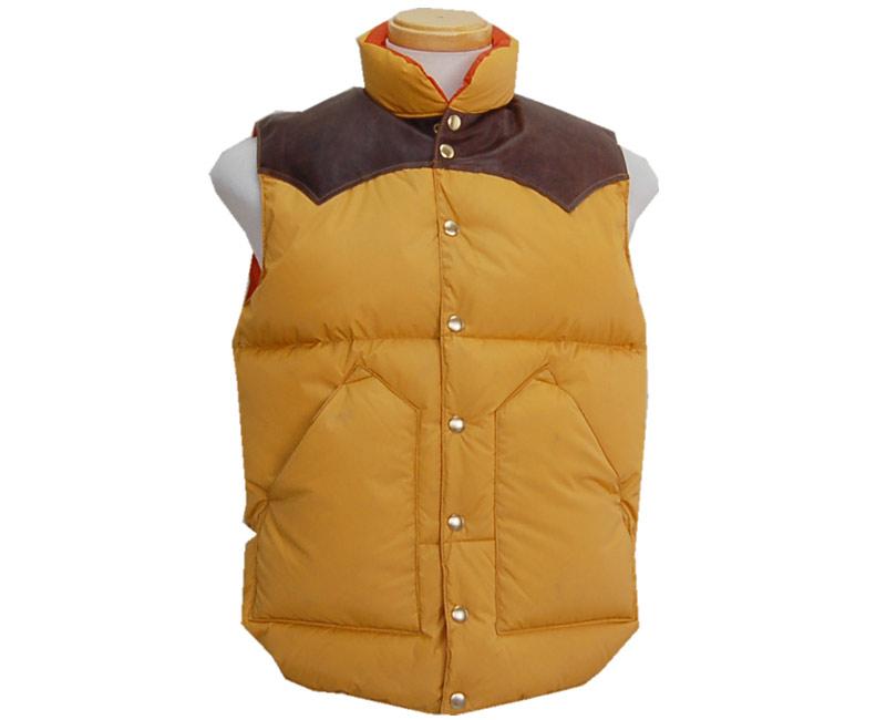 WAREHOUSE ウエアハウス アウター 【Rockymountain×Warehouse】 Nylon Down vest(イエロー・Dブラウンレザーヨーク/オレンジライナー) 【smtb-k】【kb】