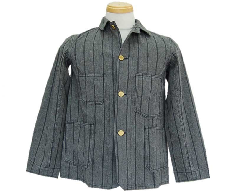 HELLER'S CAFE ヘラーズカフェ 【HELLER'S CAFE】1910's Gray-Navy Stripe Sack Jacket O/W 【smtb-k】【kb】