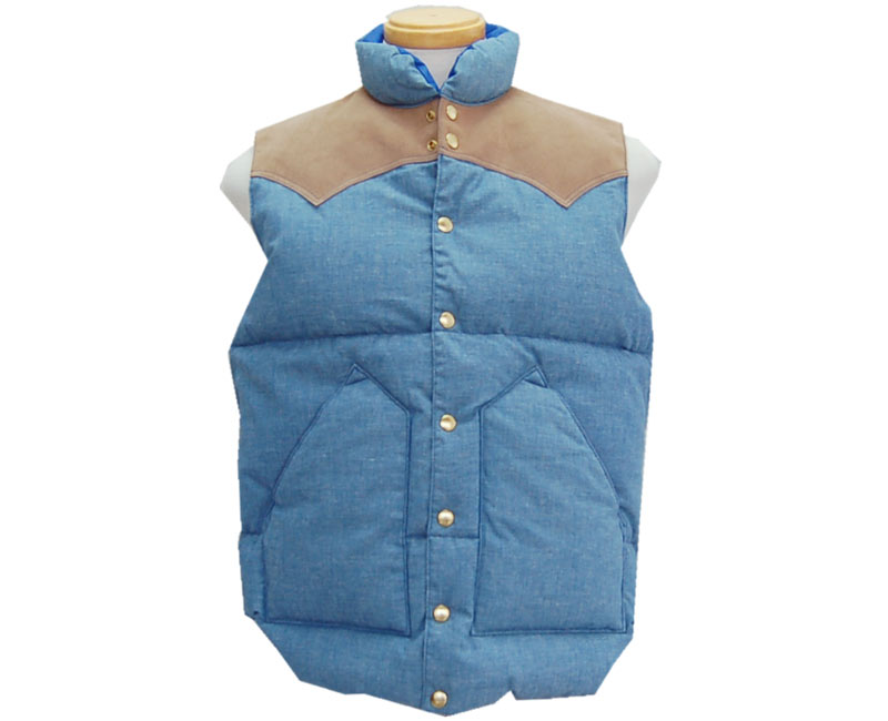 WAREHOUSE ウエアハウス アウター 【ROCKY MOUNTAIN×WAREHOUSE】CHAMBRAY DOWN VEST 【smtb-k】【kb】