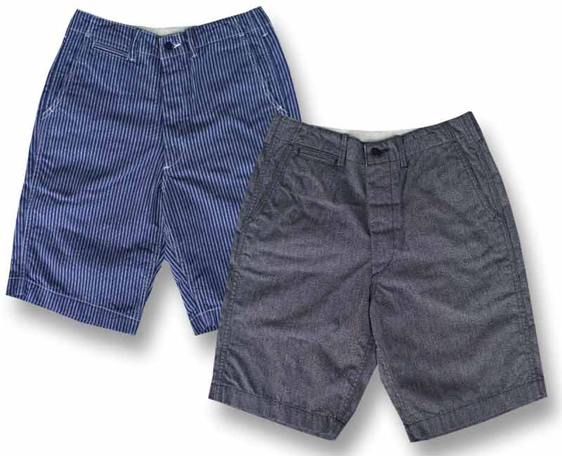 CUSHMANクッシュマン ジーンズ COTTON SHORTS TRIPLE STRIPE / BLACK CHAMBRAY