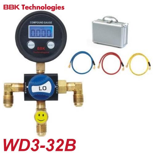 BBK R-32/R-410A スリムミニデジタルマニホールドセット WD3-32B 専用ケース付