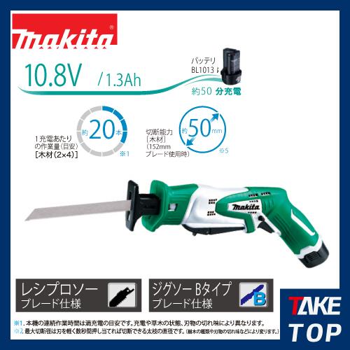 マキタ 充電式レシプロソー 10.8V/13Ahバッテリ・充電器・ケース付 JR101DWG