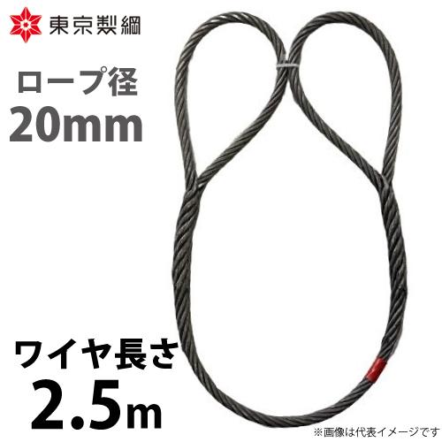 東京製綱 ワイヤーロープ ハイクロスワイヤ 両アイ巻差し 編込み ワイヤ径:20mm お気に入 重量:5.77kg 新作 2.5m