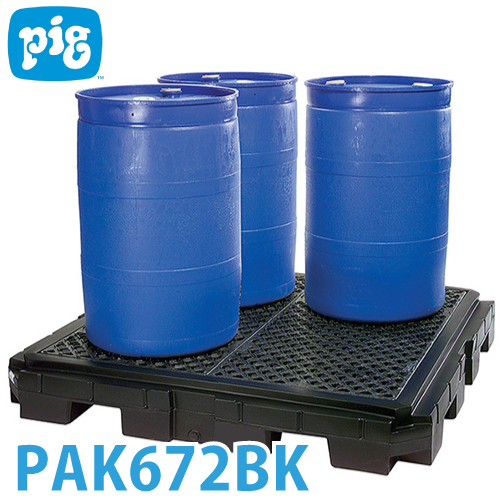ピグ ヘビーデューティポリスピルコンテイメントパレット PAK672BK 4ドラム缶用 滑り止め防止格子 耐荷重約4.082kg