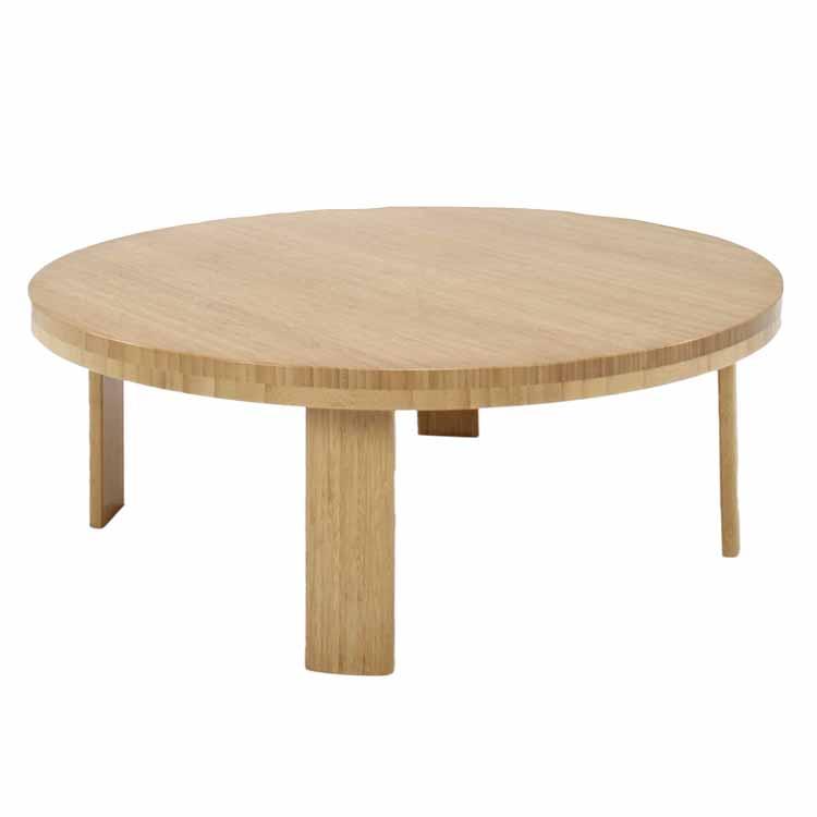 和室に洋室にマッチする木目が美しい竹集成材の家具竹製ちゃぶ台(丸)小/折りたたみ式