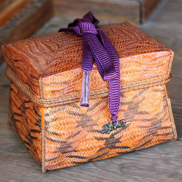 【一点限り】渡辺竹清作 煤竹鶴文様御所籠(紫)