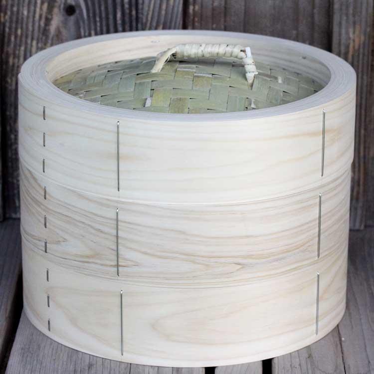 業務用にも最適な国産ヒノキ材の蒸篭です 【国産】檜中華蒸籠(せいろ)蒸し料理が美味しくできる日本製蒸し器30cm身蓋二段セット