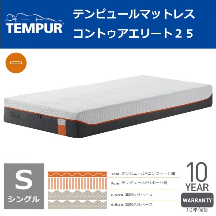 【東京23区近郊限定配送】【お取り寄せ】TEMPUR(テンピュール) シングル マットレス コントゥアエリート25|TEMPUR テンピュール 低反発 マットレス ベッド ゼロジー ZERO-G ノンスプリング NASA