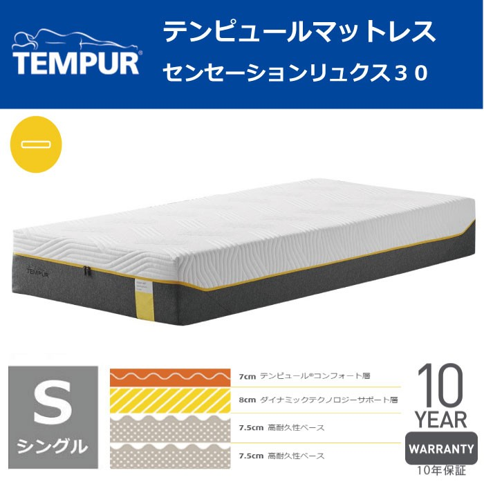 【東京23区近郊限定配送】【お取り寄せ】TEMPUR(テンピュール) シングル マットレス センセーションリュクス30 TEMPUR テンピュール 低反発 マットレス ベッド ゼロジー ZERO-G ノンスプリング NASA