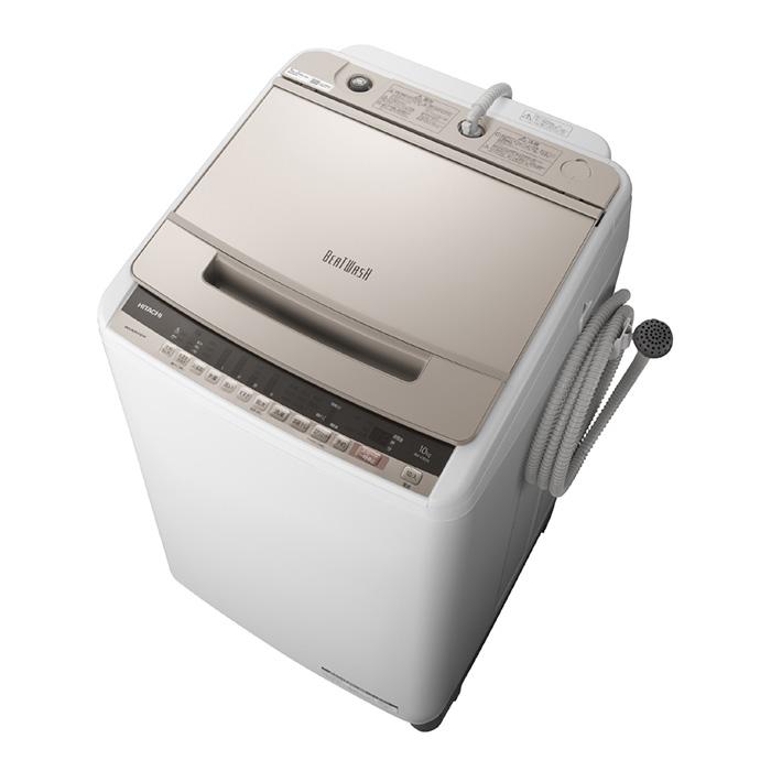 アウトレット 基本設置無料 東京23区近郊限定配送 日立 10kg 全自動洗濯機 BW-V100E-N シャンパン HITACHI BWV100E|縦型 ビートウォッシュ 10キロ