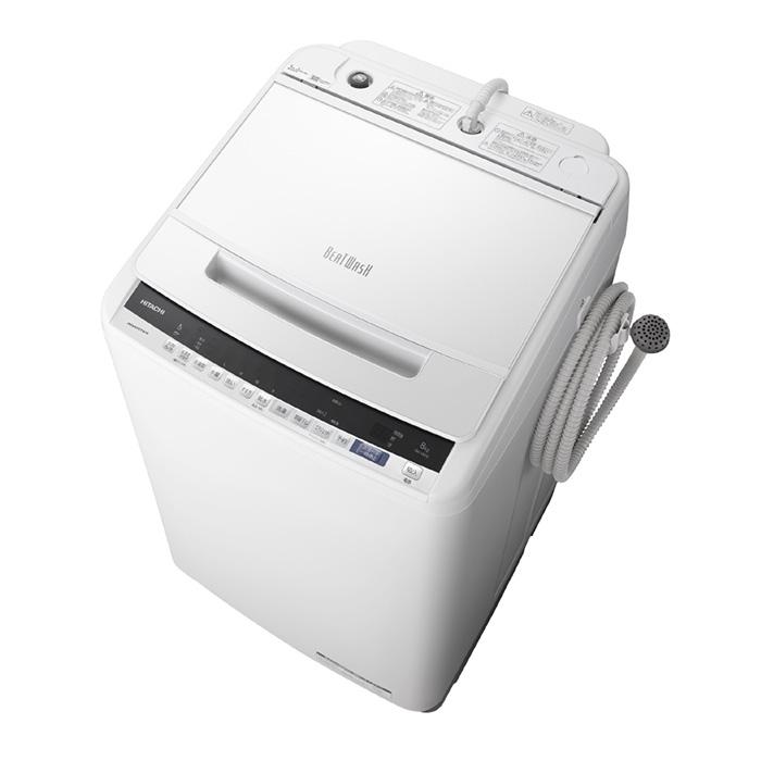アウトレット 基本設置無料 東京23区近郊限定配送 日立 8kg 全自動洗濯機 BW-V80E-W ホワイト HITACHI BWV80E|縦型 ビートウォッシュ 8キロ