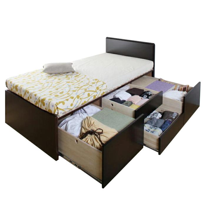 【東京23区近郊限定配送】【お取り寄せ】国産すのこベッド フレームのみ シングルサイズ 3BOXチェストベッド フラットタイプ