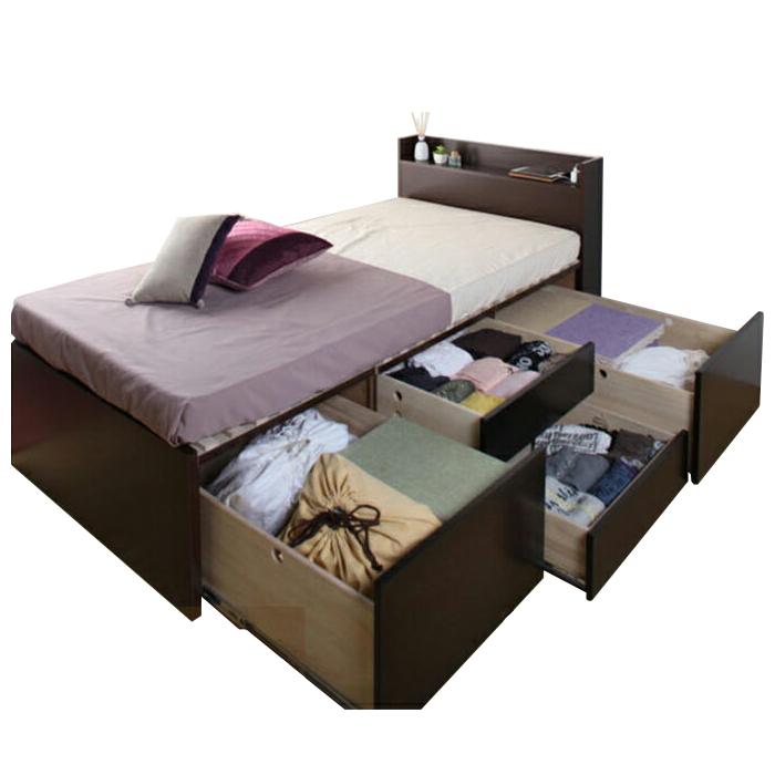 【東京23区近郊限定配送】【お取り寄せ】国産すのこベッド フレームのみ シングルサイズ 3BOXチェストベッド クローネ 棚コンセント付き