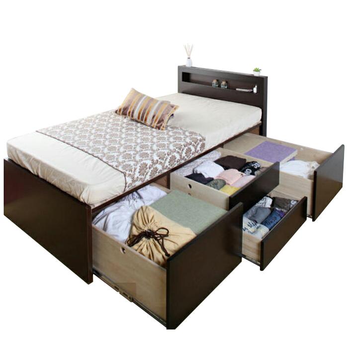 【東京23区近郊限定配送】【お取り寄せ】国産すのこベッド フレームのみ シングルサイズ 3BOXチェストベッド マジェスタ 棚コンセント付き