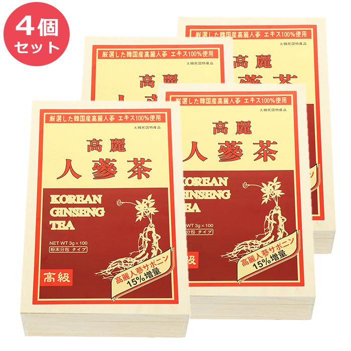 送料無料 コリアワールドトレーディング 高級 高麗人参茶 3g×100包×4個セット 粉末分包タイプ KOREAN GINSENG TEA 大韓民国特産品