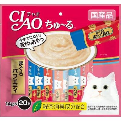 【送料無料!】【ケース販売】いなばペットフード ちゅーる まぐろバラエティ 猫用フードスナック 14gx20本入りx16点