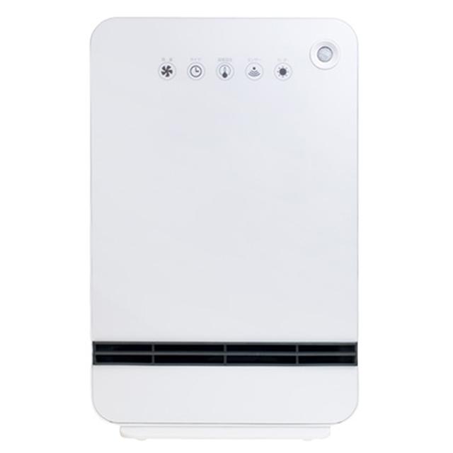 【送料無料】山善 温度&人体感知センサー付セラミックヒーター DSF-VN12(W)ホワイト|暖房器具 足元 スリム 軽量