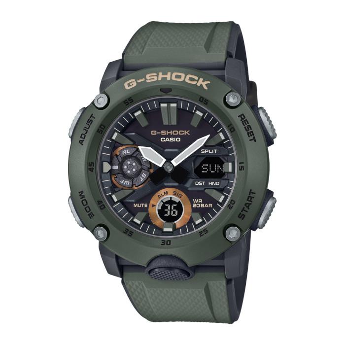 【送料無料!】カシオ GA-2000-3AJF メンズ腕時計 Gショック|CASIO G-SHOCK 男性 ミリタリーテイスト カーボンケース LEDライト カーキー グリーン