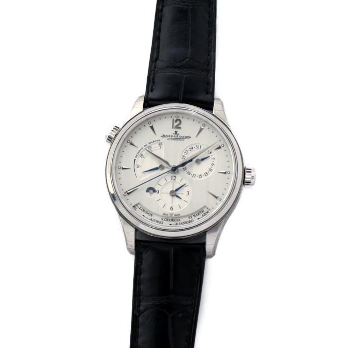 【ヤマト便】【送料無料!】ジャガー・ルクルト Q142842 メンズ腕時計 マスター ジオグラフィーク|JAEGER LECOULTRE 男性 人気 ブランド かっこいい おしゃれ 革 ブラック ホワイト