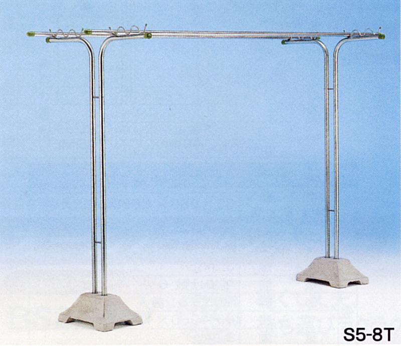 物干し台 屋外 ステンレス S5-8T グレーPPベース(1個あたり約20kg×2個)付