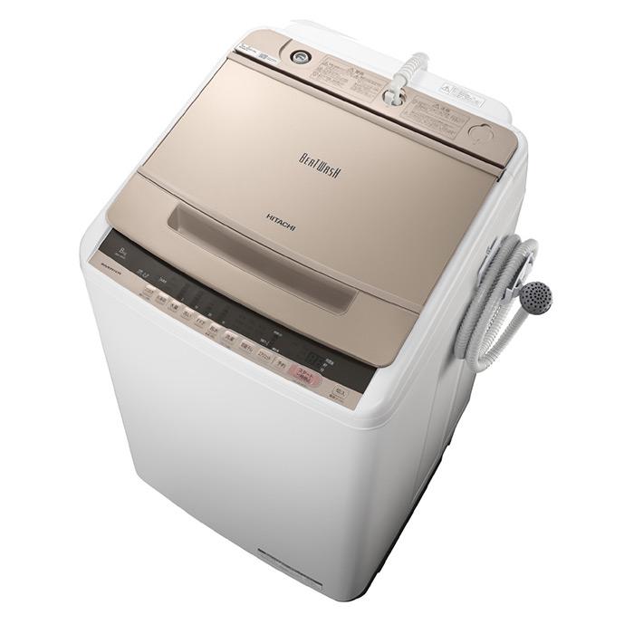 基本設置無料・埼玉・千葉・神奈川・東京都限定配送 日立 8kg 全自動洗濯機 BW-V80C-N シャンパン HITACHI BWV80C ビートウォッシュ|8キロ インバーター 自動槽洗浄