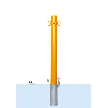車止めポール帝金(teikin)バリカー ピラー型スチール(鉄)製着脱式鍵付き76.3ミリ