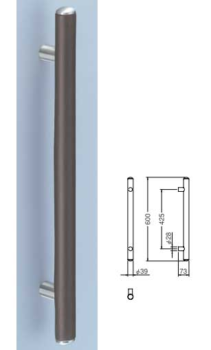 【リフォーム用品】レザーを使用したドア取っ手(ハンドル) ドアハンドル レザー丸棒取っ手 両面用 600ミリ【引戸に最適】