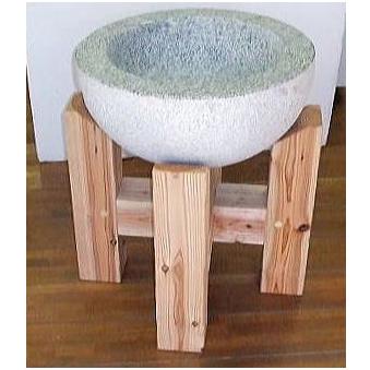 [餅つきセット] 餅つき 白みかげ石臼(3升用)杉材石臼台 2点セット 【smtb-ms】[瀧商店]