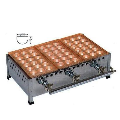 銅板 たこ焼機 ころがし式 18穴ジャンボ (おおだこ) 3連・2連・4連・5連 連数選択 [たこ焼き器 タコ焼き機] 【smtb-ms】